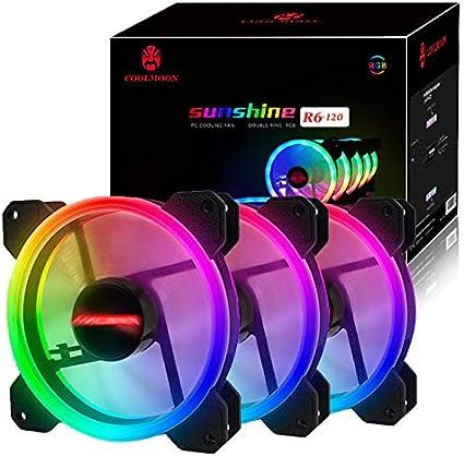 XIAOXIN 120 LED Quiet Edition Alto Ventilador de Flujo de Aire Twin Pack-Color de Cinco Piezas, RGB, Control Remoto