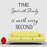 trfhjh Quotes Wall Sticker Home Art Time Spent Family Quotes Wall Stickers Living Room Indoor Decoration DIY Vinyl Home English Characters Mural Art DecalsFor Bedroom Living Room Kids Room