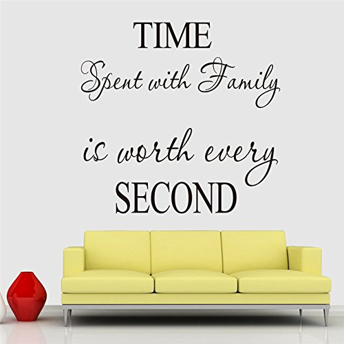 trfhjh Quotes Wall Sticker Home Art Time Spent Family Quotes Wall Stickers Living Room Indoor Decoration DIY Vinyl Home English Characters Mural Art DecalsFor Bedroom Living Room Kids Room by trfhjh