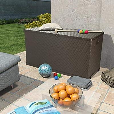 vidaXL Caja de Almacenamiento Jardín 420 L Marrón Baúl Arcón Cofre Organizador: Amazon.es: Bricolaje y herramientas