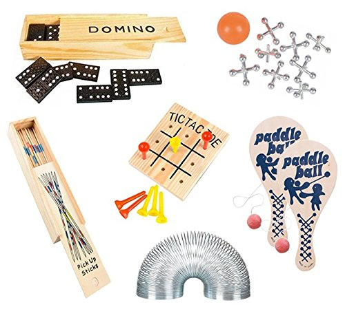 Wish Novelty Classic Games (Set of 6) Fun Party Vintage Games for Kids & Family - Includes Tic-Tac-Toe, 2 Paddleballs, Domino, Jacks, Pick-up Sticks, Coil Spring- Travel Compact Size - Best Retro Gift
