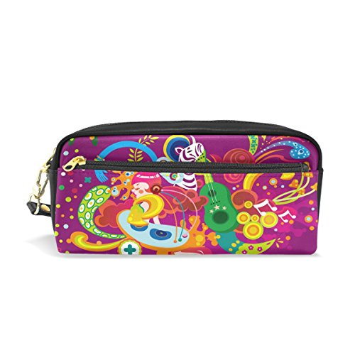 Zebra Animal Catoon Leather Student Pencil Case Cosmetic Bag Pen Makeup Pouch for Girl Boy
