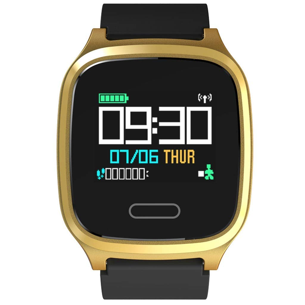 YangMi Sports Bracelet- Intelligent Sports Color Screen Bracelet Multi-Function Monitoring Blood Pressure Heart Rate Sleep Bracelet Step Counter Sports Bracelet (Color : Black Gold)