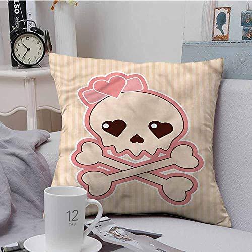Fbdace Cushion Cases Throw Pillowcases Skull Crossbones with Heart Shape for Sofa Bedroom Car 24 X 24 Inch