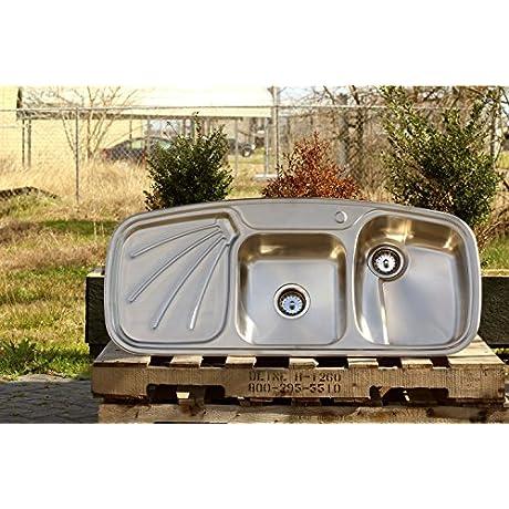 Vintage Inspired 304 Stainless Steel Farm Sink Stamped Metal Single Drainboard Double Basin Kitchen Sink Package
