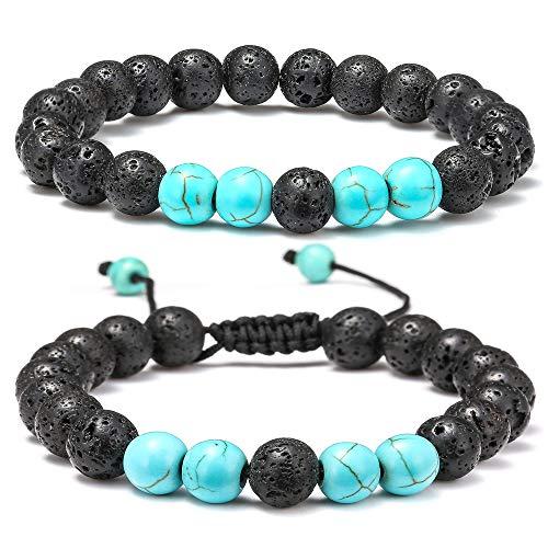 M MOOHAM Lava Rock Bracelet - 8mm Lava Rock Bead Blue Turquoise Anxiety Bracelet, Men Women Stress Relief Yoga Beads Aromatherapy Essential Oil Diffuser Healing Bracelets