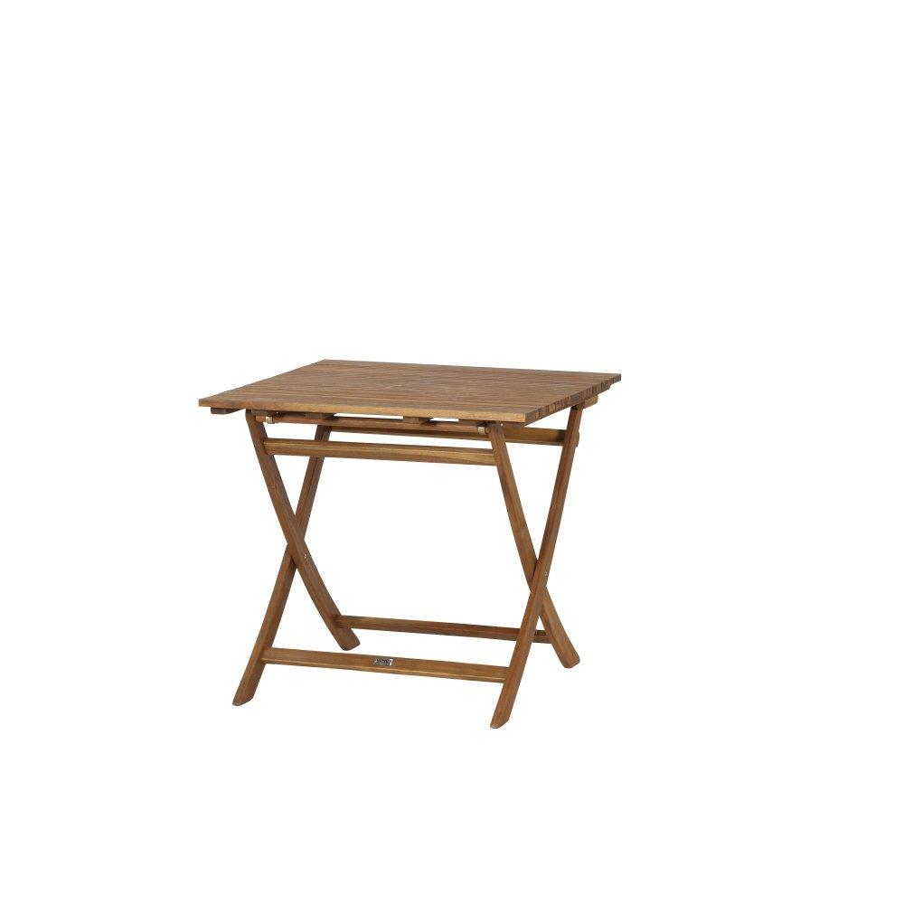 Siena Garden 120569 - Tavolo Falun, 80 x 80 cm, in legno di acacia, FSC 100%, elementi in acciaio galvanizzato GFA-COC-001447