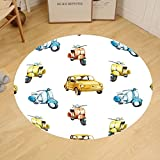 Gzhihine Custom round floor mat Vintage Colored Retro Italian Motorcycle Scooter Cars Watercolored Like Pattern Artwork Bedroom Living Room Dorm Multicolor
