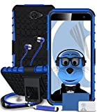 Vodafone Smart Platinum 7 Blue Shock Proof Rugged Hard Case with Viewing Stand - LCD Screen Protector - Retractable Mini Stylus Pen - 3.5mm ZIPPER Stereo Hands Free HeadPhones with Mic