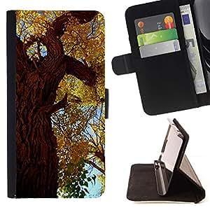For Samsung Galaxy S6 Case , Árbol de hojas de otoño de oro Bosque Cielo Naturaleza- la tarjeta de Crédito Slots PU Funda de cuero Monedero caso cubierta de piel