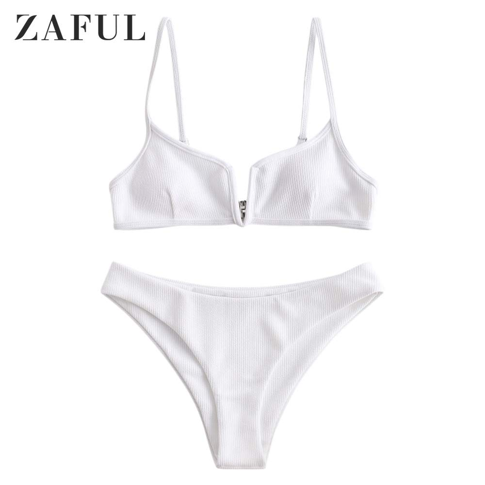ZAFUL Bikini Ribbed V Wired Cami Swimwear Solid Color Adjustable Straps Bathing Suits for Women