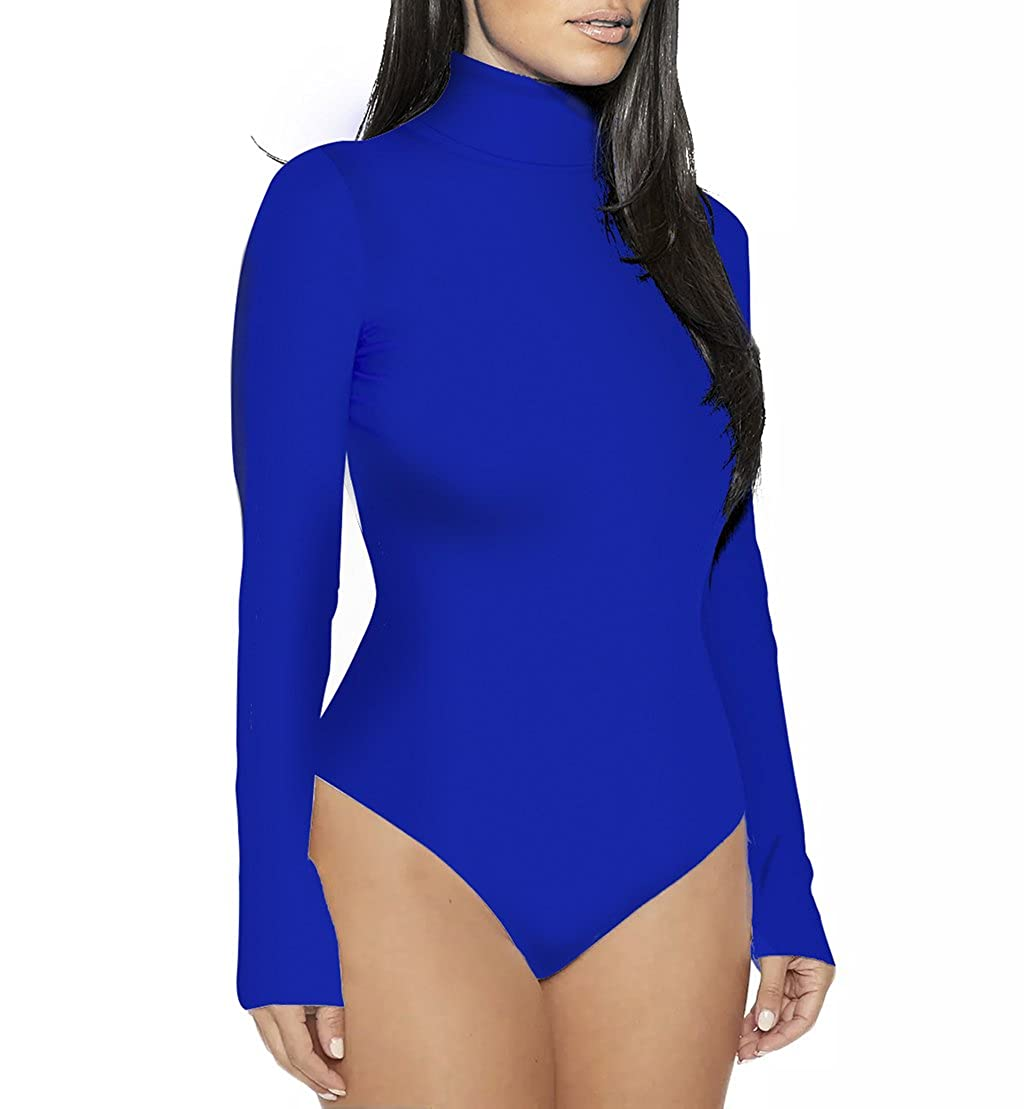 2a3d8694a82 Sumtory Women High Neck Top Bodysuit Long Sleeve Bodycon Romper Solid Thong  Leotard STNJP0261