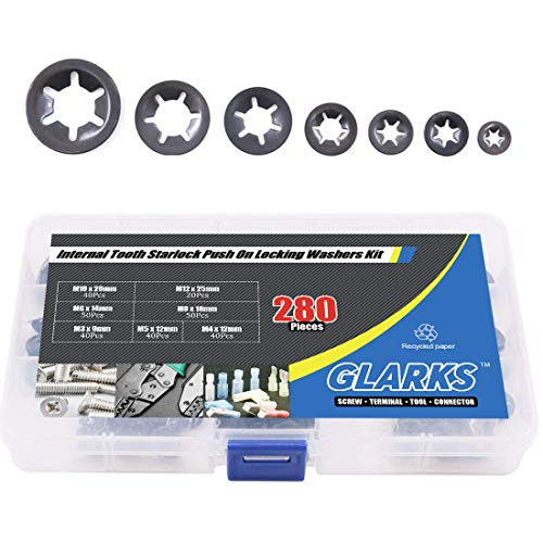 Glarks 280Pcs Internal Tooth Starlock Push On Locking Washers Speed Clips Fasteners Assortment ()