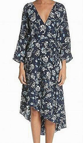 Diane von Furstenberg Floral Print Large Wrap Dress Silk Blue L