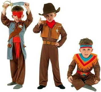 Cesar - Pack 3 disfraces de vaquero, indio y pirata para niño (de 5/7 ...
