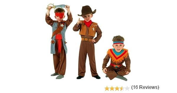 Cesar - Pack 3 disfraces de vaquero, indio y pirata para niño (de ...