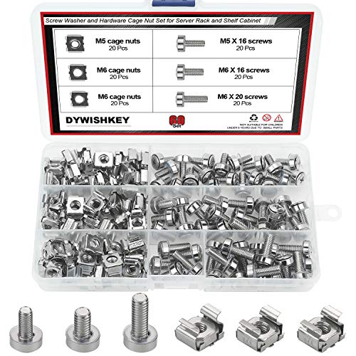 Cage Nuts and Screws, DYWISHKEY 60Set Square Hole Hardware Cage Nuts & Mounting Screws Washers for Server Rack and Cabinet (M5 x 16mm, M6 x 16mm, M6 x 20mm)
