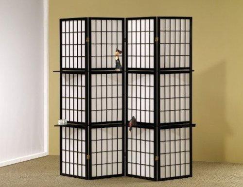 Fold Screen Privacy (Legacy Decor 4 Panel Shoji Folding Screen Room Dividers with Shelving, Black Finish)