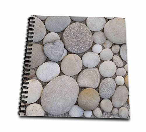 3dRose Andrea Haase Still Life Photography - Grey pebble with one heart shaped stone - Drawing Book 8 x 8 inch (db_264677_1)