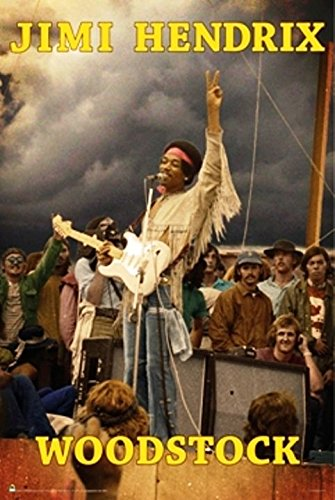 Jimi Hendrix Woodstock Psychedelic Classic Rock Music Poster Print 24 by 36