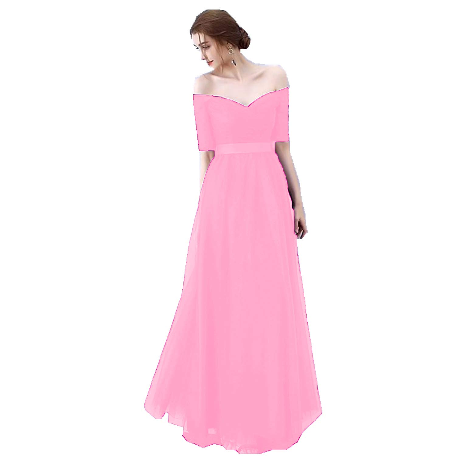 bluesh Ruiyuhong Women's VNeck Off The Shoulder Bridesmaid Dresses Long Tulle Wedding Party Gown