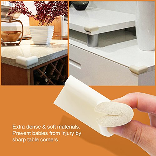 BABY MATE 12 PCS Beige High Density Foam Baby Corner Guards - Table Corner Protectors for Baby Safety Corner Guards Bumpers - Corner Cushion Guards Baby Furniture Safety Bumpers -Corner Protector Baby by Baby Mate (Image #3)