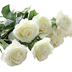 XGM GOU 10 Pcs Latex Real Touch Rose Decor Rose Artificial Flowers Silk Flowers Floral Wedding Bouquet Home Party Design Flowers White 74