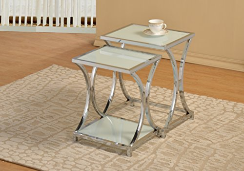 2 Side Metal (Chrome Metal Glass Shelf Side End Nesting Tables X-Design (Set of 2))