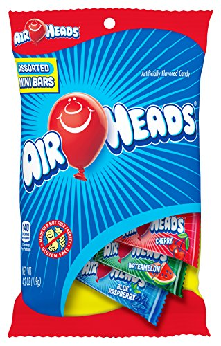 AirHeads Candy Variety Bag, Individually Wrapped Assorted Fruit Mini Bars, Party, 4.2 Ounce (Bulk Pack of 12) -