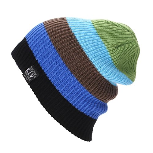 Charberry Knit Unisex Baggy Beanie Winter Hat Ski Slouchy Chic Cap (Green)