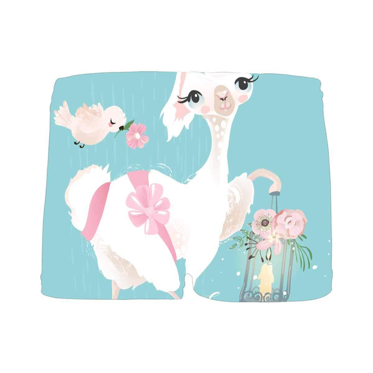 INTERESTPRINT Custom Mens Boxer Briefs Beautiful and Cute Llama Alpaca with Beautiful Flowers S