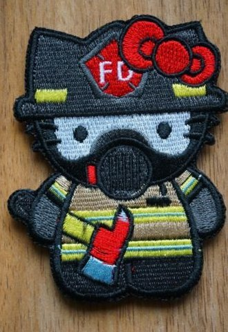Hello Kitty x Firefighter Embroidered Patch Badge Hook Back Velcro Patch (color6) - Hello Kitty Applique