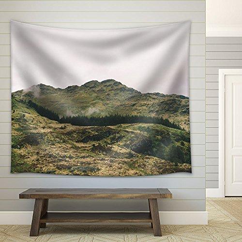 Beautiful Landscape Mountain a Trees Line Fabric Wall