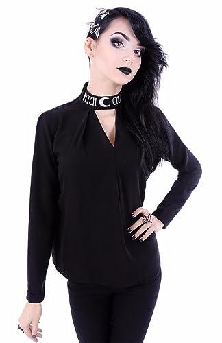 Blusa Top Punk de Restyle con Gargantilla Brujería Ocultismo
