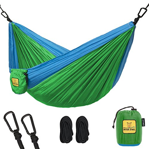 Wise Owl Outfitters Kids Hammock for Camping Owlet Kid & Gear Sling Hammocks - Best Quality For The Outdoors Backpacking Travel or Fun! Portable Lightweight Parachute Nylon Hammock OW Green - Hammock Small