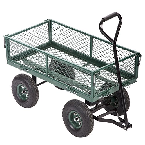 FDW Garden Carts Yard Dump Wagon Cart Lawn Utility Cart Outdoor Steel Heavy Duty Beach Lawn Yard Landscape