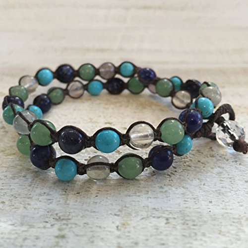 Blue and Turquoise Ombre Macrame Wrap Bracelet