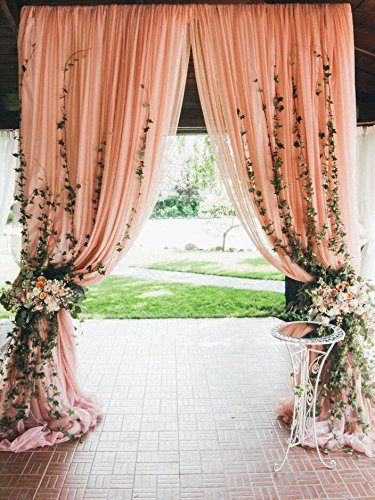Outdoor Wedding Scene Photography Backdrop Peach Curtain with Flowers Green Plants Leaves Digital Background for Photo Studio 5x7 ft