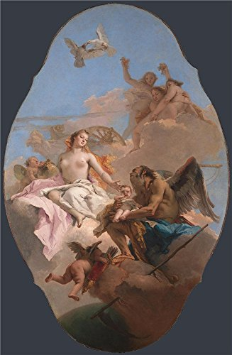 High Quality Polyster Canvas ,the Replica Art DecorativePrints On Canvas Of Oil Painting 'Giovanni Battista Tiepolo An Allegory With Venus And Time ', 10 X 15 Inch / 25 X 39 Cm Is Best For Powder Room Decor And Home Decoration And Gifts