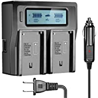 OAproda NP-F970 LCD Dual Fast Battery Charger for Sony F970 NP-F960 NP-F950 NP-F930 NP-F770 NP-F750 NP-F570 NP-F550 NP-FM50 NP-FM55H NP-FM500H NP-QM71 NP-QM51 QM71D QM91D Digital Camcorder Batteries
