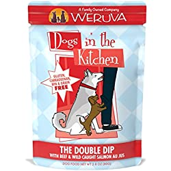 Weruva Dogs In The Kitchen, The Double Dip With Beef & Wild-Caught Salmon Au Jus Dog Food, 2.8Oz Pouch (Pack Of 12)