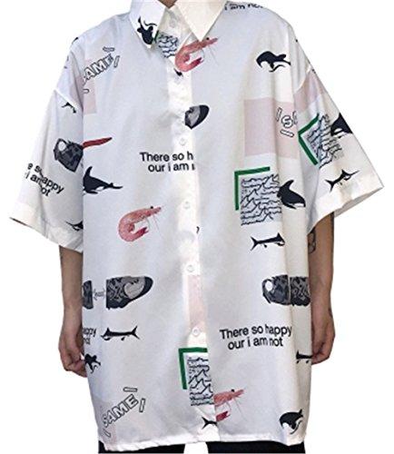 [イダク] レティース アロハシャツ 花柄 プリント 薄手 ゆったり 半袖 カジュアル 夏 ハワイシャツ