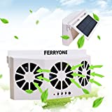 Ferryone Solar Powered Car Window Air Vent Ventilator - with Three-headed Fan - Clear The Car Smell - Protect Electrical Appliances in The Car - Suitable for All Cars
