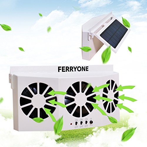 Solar Powered Car Fan Auto Front/Rear Window Air Vent Exhaust Fan Vehicle Radiator Vent with Ventilation By Ferryone (White)