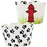 Paw Print Party Supplies, 36 Puppy Dog Theme Cupcake Wrappers, Rescue Patrol Birthday Cup Cake Liners, Fire Hydrant Treat Favor Bag Holder, Animal Pals Rescue B-day Decorations, Reversible Wraps