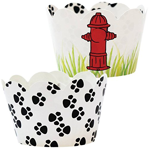 Paw Print Party Supplies, 36 Dog Theme Cupcake Wrappers, Rescue Patrol Birthday Cup Cake Liners, Fire Hydrant Treat Favor Bag Holder, Puppy B-day Decorations, Reversible, Adjustable Wraps