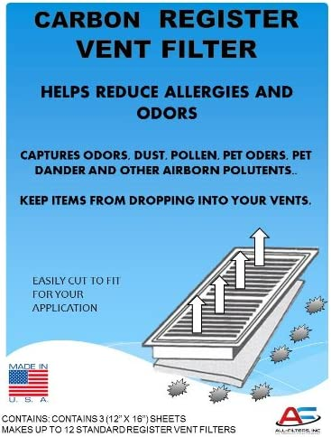 Carbon Register Vent Air Odor and Dust Filters