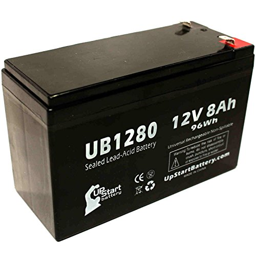 Light Alarms M10 Battery - Replacement UB1280 Universal Sealed Lead Acid Battery (12V, 8Ah, 8000mAh, F1 Terminal, AGM, SLA) - Includes TWO F1 to F2 Terminal Adapters by UpStart Battery