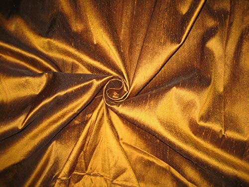 100% Pure Silk Dupioni Fabric Amber with Black Shot 54