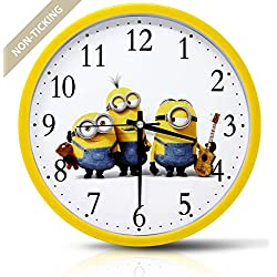 Filota Colorful Kids Wall Clock 10 inch Silent Non Ticking Quality Quartz Battery Operated Wall Clock, Easy to Read, Yellow Frame - Minions (Despicable Me)